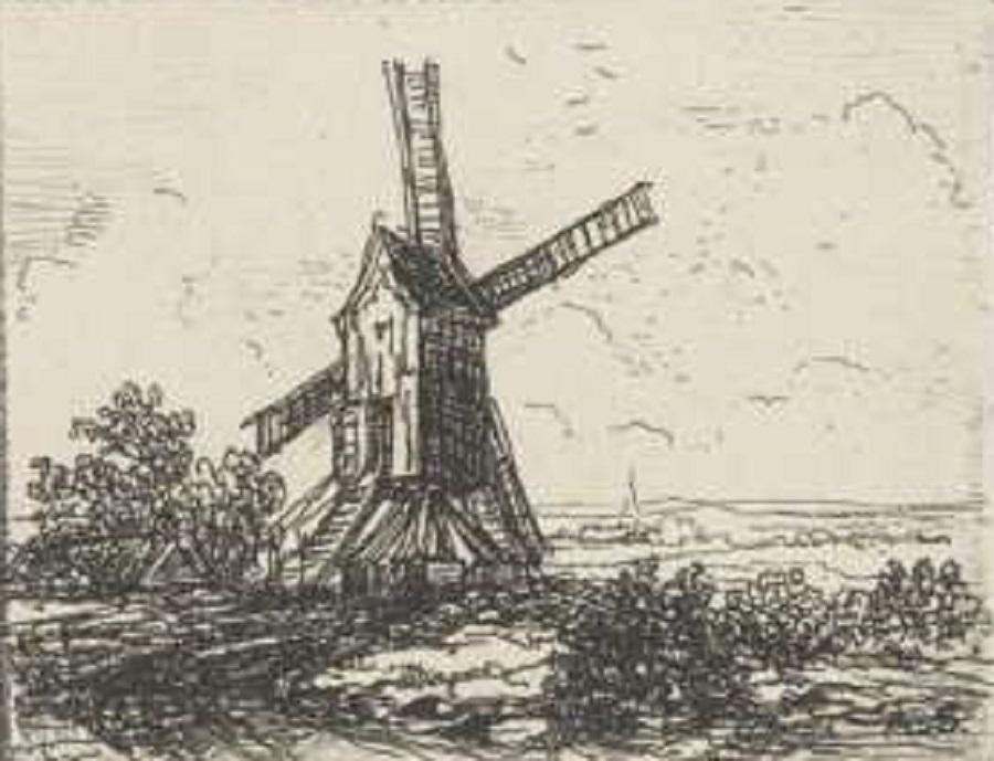 Foto van <p>Molen Hoogwaarts</p>, Uikhoven (Maasmechelen)  , Ets van Alexander Schaepkens (Maastricht, 1815-1899), plaatrand: h 50 mm x b 63 mm (coll. Rijksmuseum Amsterdam, nr. RP-P-OB-60.494) | Database Belgische molens