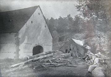 Foto van <p>Moulin de Férot<br />Sciérie Deherve de Férot<br />Le Fourneau</p>, Ferrières, Toen de molen nog actief was als houtzaagmolen. Verzameling Ons Molenheem   Database Belgische molens