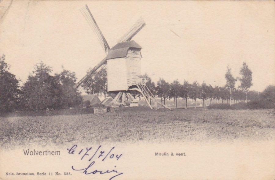 Foto van <p>Molen Van Daelem</p>, Wolvertem (Meise), Prentkaart Nels, Brussel, verzonden op 17.07.1904 | Database Belgische molens
