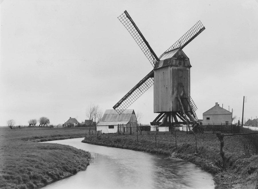 Foto van <p>Westmolen<br />Molen Ramman</p>, Houtave (Zuienkerke), Foto ca. 1950, K.I.K. - Koninklijk Instituut van het Kunstpatrimonium, Brussel. | Database Belgische molens